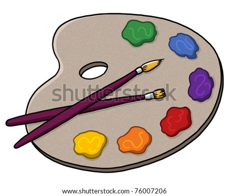 Palette with colors illustration; Paints and brushes; Isolated artist palette