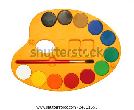 Palette with water colour paints isolated on white background