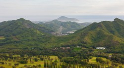 Pali Golf Course out towards Mokapu Point, view from Pali Lookout, Oahu, Hawaii