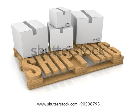 pallet made with the word: shipping (3d render)