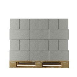 pallet of aerated concrete blocks on white background