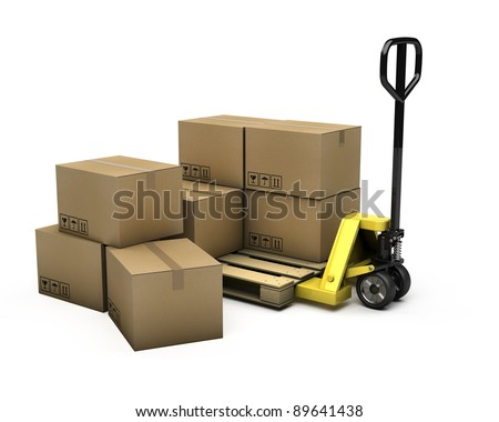 Pallet truck with pallet and boxes