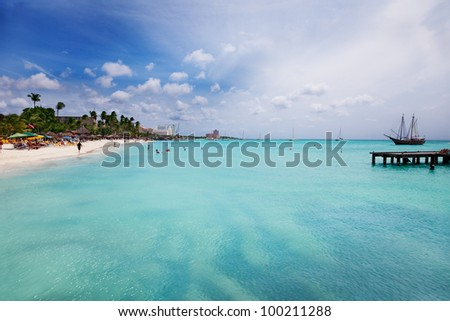 Palm Beach, Aruba, looking south toward Oranjestad