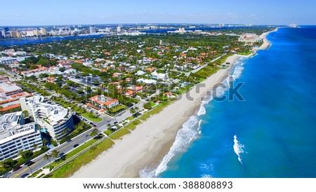 Palm Beach, Florida. Amazing aerial view of coastline. #388808893