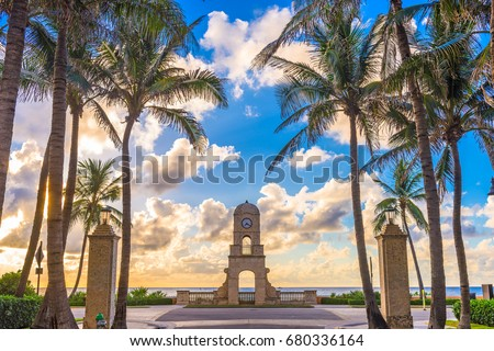 Palm Beach, Florida, USA clock tower on Worth Ave. #680336164
