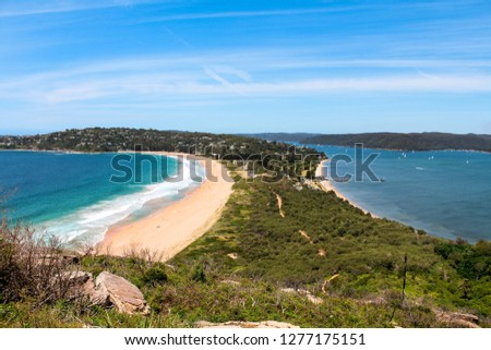 Palm Beach in Sydney as seen from Barrenjoey Head viewpoint on a clear summer day with perfect beach views (Sydney, Australia) #1277175151