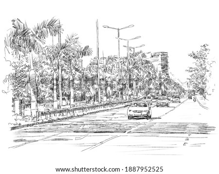 Palm beach Marg Navi Mumbai illustration. Stockfoto ©