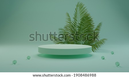 Palm 3D rendering flower background green color with geometric shape podium for product display, minimal concept, Premium illustration pastel floral elements, beauty, cosmetic. Foto stock ©