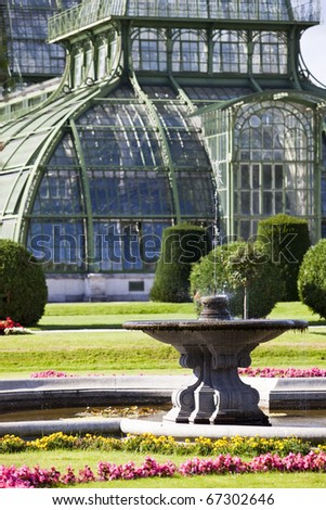 palm house at the imperial garden of Schoenbrunn Vienna / Austria - stock photo