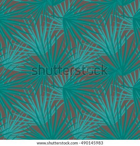 Palm Leaf  Seamless Pattern Background Illustration