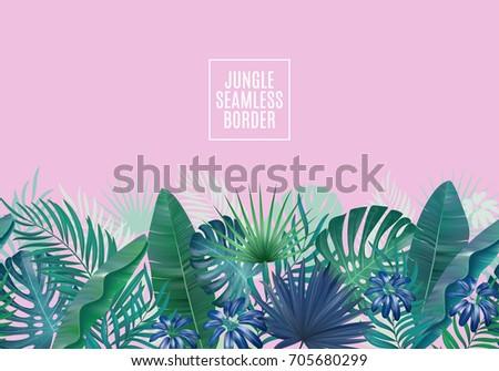 Palm leaves seamless horizontal border. Retro  illustration