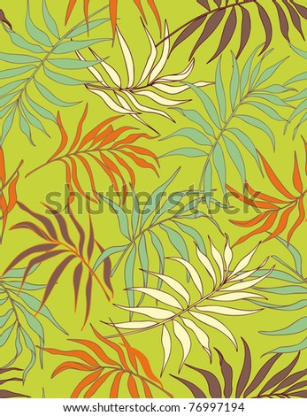 Palm leaves - seamless pattern in warm color palette