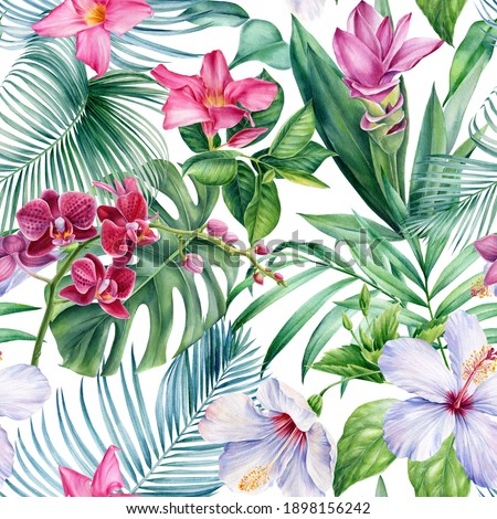 Palm leaves, tropical flowers orchid, hibiscus on white background, watercolor botanical. Seamless patterns.