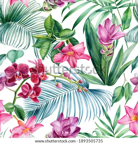 Palm leaves, tropical flowers, turmeric, orchid, hibiscus, watercolor botanical illustration. Seamless patterns.