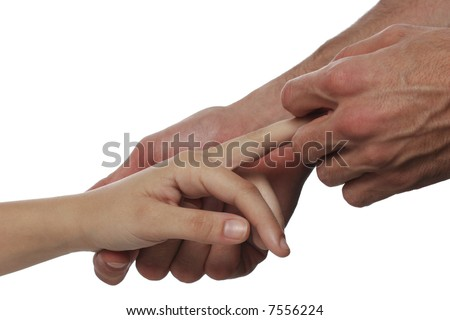 Palm massage over white background