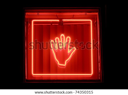 palm reader sign, red hand in glowing neon