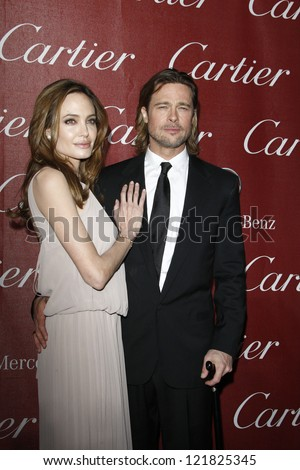 PALM SPRINGS, CA - JAN 7: Brad Pitt; Angelina Jolie at the 23rd Annual Palm Springs International Film Festival Awards Gala at the Palm Springs Convention Center on January 7, 2012 in Palm Springs, CA