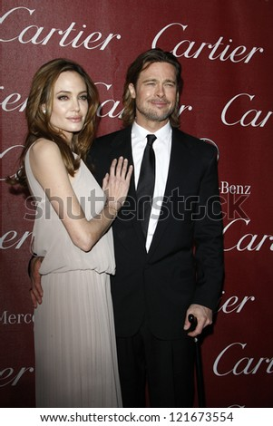 PALM SPRINGS, CA - JAN 7: Brad Pitt; Angelina Jolie at the 23rd Palm Springs International Film Festival Awards Gala at the Palm Springs Convention Center on January 7, 2012 in Palm Springs, CA
