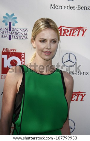 PALM SPRINGS, CA - JAN 8: Charlize Theron at the Variety's Indie Impact Award & 10 Directors to Watch brunch at the 23rd Palm Springs International Film Festival on January 8, 2012 in Palm Springs, CA