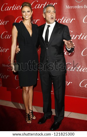 PALM SPRINGS, CA - JAN 7: Stacy Keibler; George Clooney at the 23rd Annual Palm Springs International Film Festival Awards Gala on January 7, 2012 in Palm Springs, California