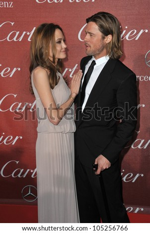 PALM SPRINGS, CA - JANUARY 7, 2012: Brad Pitt & Angelina Jolie at the 2012 Palm Springs Film Festival Awards Gala at the Palm Springs Convention Centre. January 7, 2012  Palm Springs, CA