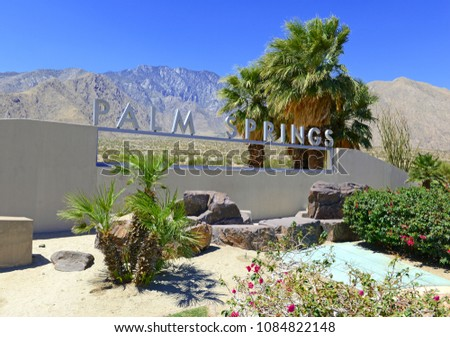 Palm Springs sign with desert background and backdrop of San Jacinto Mountain, California #1084822148