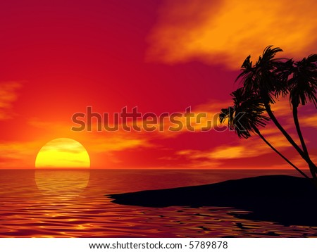 Palm tree and ocean. 3D rendered scene