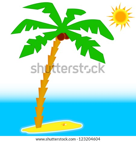 Palm tree with sun and blue sea