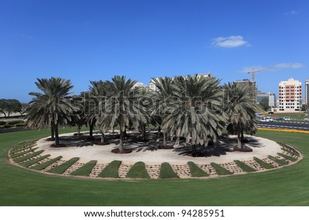 Palm Trees at a roundabout in Dubai, United Arab Emirates