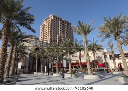 Palm Trees at at The Pearl promenade in Doha, Qatar