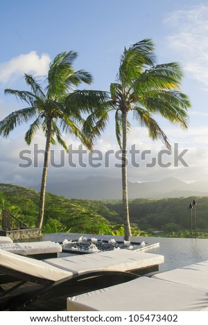 Palm trees by the pool, tropical island of Kauai, Hawaii. Sunset. Vertical picture