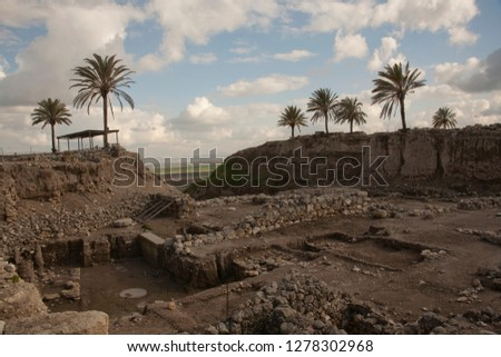 Palm trees grace the hill top fortress site of the Tel Megiddo built by King Solomon and future site of Armageddon, prophesied as the Biblical 'End of Days,' Israel