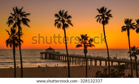 Palm trees on Manhattan Beach at sunset, Los Angeles