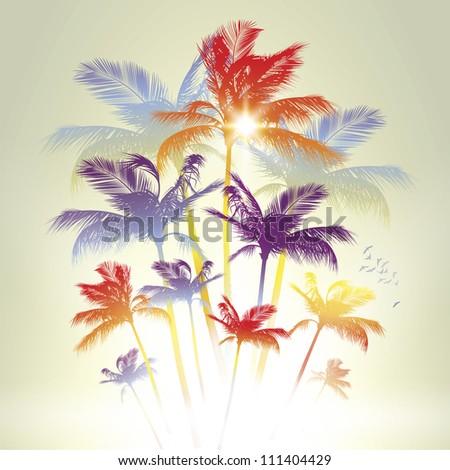 Palm trees. Raster version. - stock photo