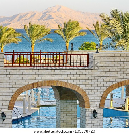 Palm trees, Red Sea, mount, bridges and swimming pool