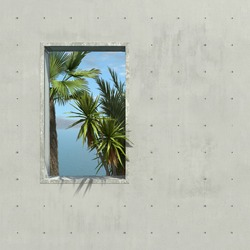 Palm trees, the sea and clear sky are visible through the window opening of the concrete wall. Illustration with copy space. 3D rendering.