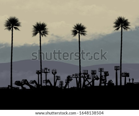 Palm trees tower over a business that sells bucket lifts and scissor lifts in this illustration about man vs. nature. Image based on a scene witnessed in Modesto, CA.