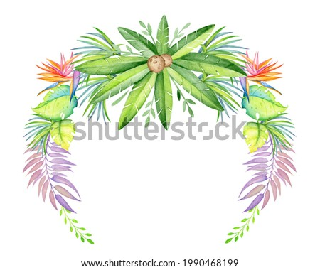 Palm, tropical, leaves, branches and flowers. Watercolor, frame, cartoon style, on an isolated background.