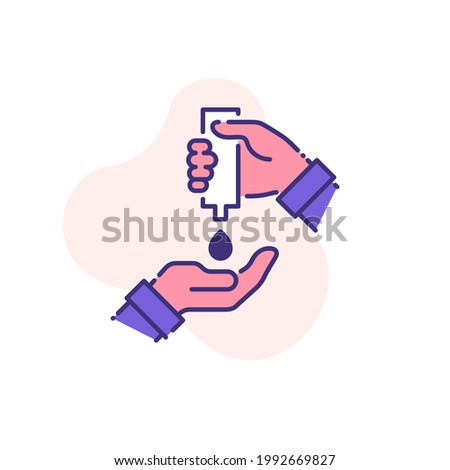 palm with hand sanitizer and drop of antiseptic gel single flat line icon isolated on white. outline icon symbol Coronavirus Covid 19 banner disinfect hands flat element