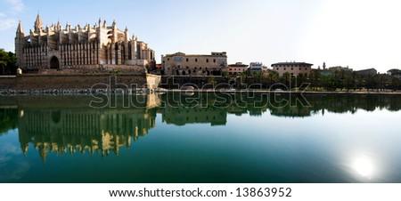 Palma de Mallorca cathedral panorama - stock photo