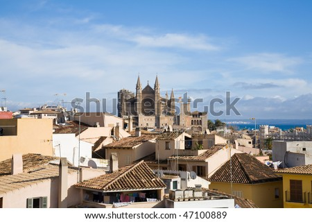 Palma de Mallorca; view over the rooftops; from the old city walls towars the cathedral La Seu; horizontal format