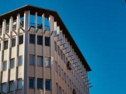 Palma office block set a against a sunny winter sky in Palma de Mallorca, Spain. High quality photo