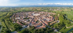 Palmanova city panoramic aerial view with Aquileia door. Friuli Venezia Giulia, Italy.