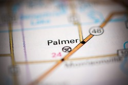Palmer. Illinois. USA on a geography map