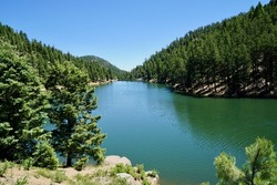 Palmer Lake reservoir on a beautiful sunny Colorado day  in the spring