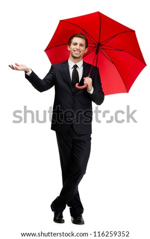 Palming up man with opened opened umbrella checks the rain, isolated on white