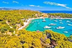 Palmizana bay beach and anchor harbor sailing destinatioan aerial view, Pakleni Otoci archipelago near Hvar, Croatia