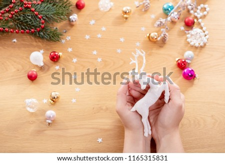 Homemade Deer New Year Christmas Toy Decoration Images And Stock