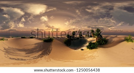 Palms, sea and sand, HDRI, environment map , Round panorama, spherical panorama, equidistant projection, 3d rendering