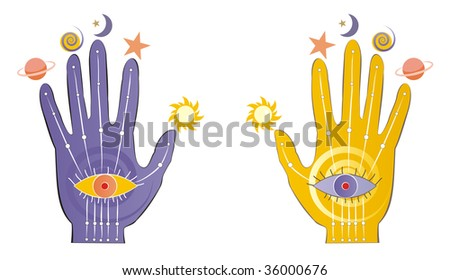 Palms with psychic symbols